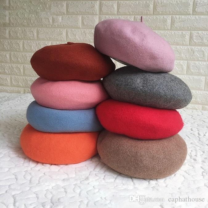 wholesell et vente au détail haute qualité classique bérets de laine et de laine femmes chaude 8 couleurs livraison gratuite