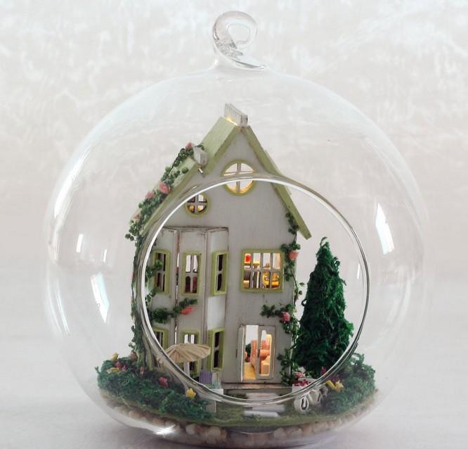 G011 DIY Cam topu bebek evi montaj ahşap dollhouse minyatür villa doğum günü Noel Hediyesi ücretsiz kargo