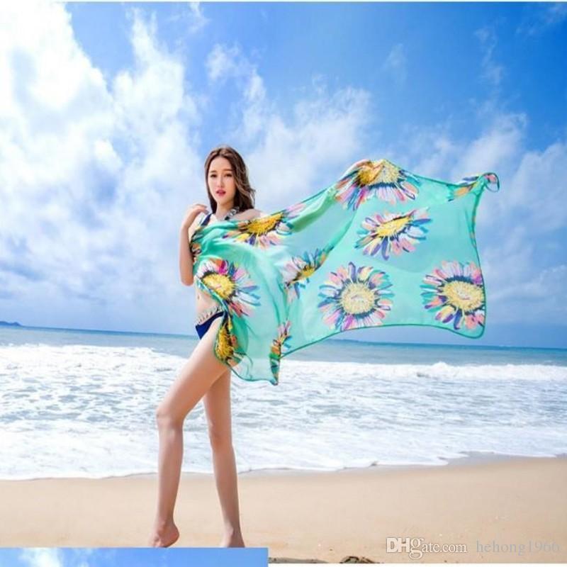 الشمس امرأة ملابس الحرير وشاح بيكيني المعتاد الشاطئ منشفة المحمولة بروتيل الشيفون الطباعة أزياء غطاء ردائه طويل شال 7lm ff