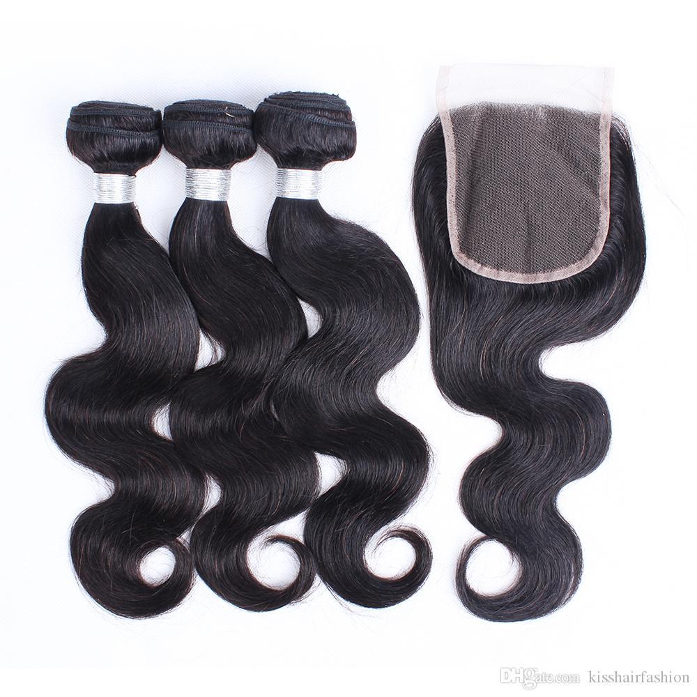 3 Bundles Peruvian Virgin Hair Body Wave with Lace Closure Natural Color Brazilian Indian Malaysian Virgin Human Hair Weave