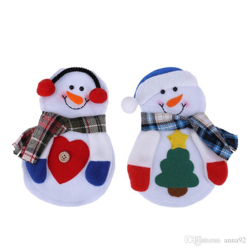 Bonhomme De Neige Couteaux De Costume Couteaux Folks Sac Titulaire Poches Table Dîner Décor De Noël Nouvel An Décorations De Noël Pour La Maison livraison gratuite vente chaude