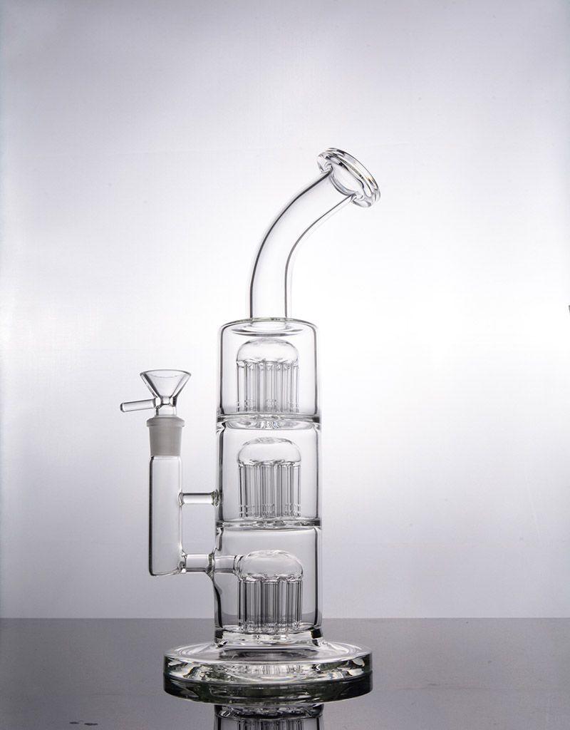 dab teçhizat nargile 14mm eklem gaz verici kol ağaç percs su boruları cam ile Yeni Cam bonglar üçlü odasını