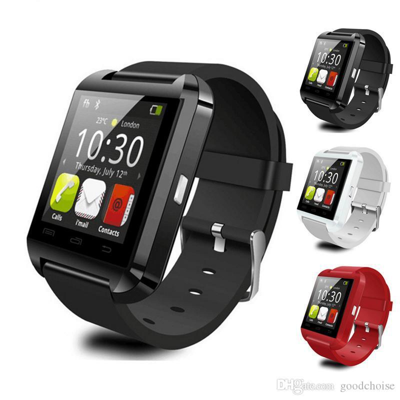 Homens u8 smart watch bluetooth com tela de toque grande apoio da bateria tf cartão sim câmera para android telefone smartwatch