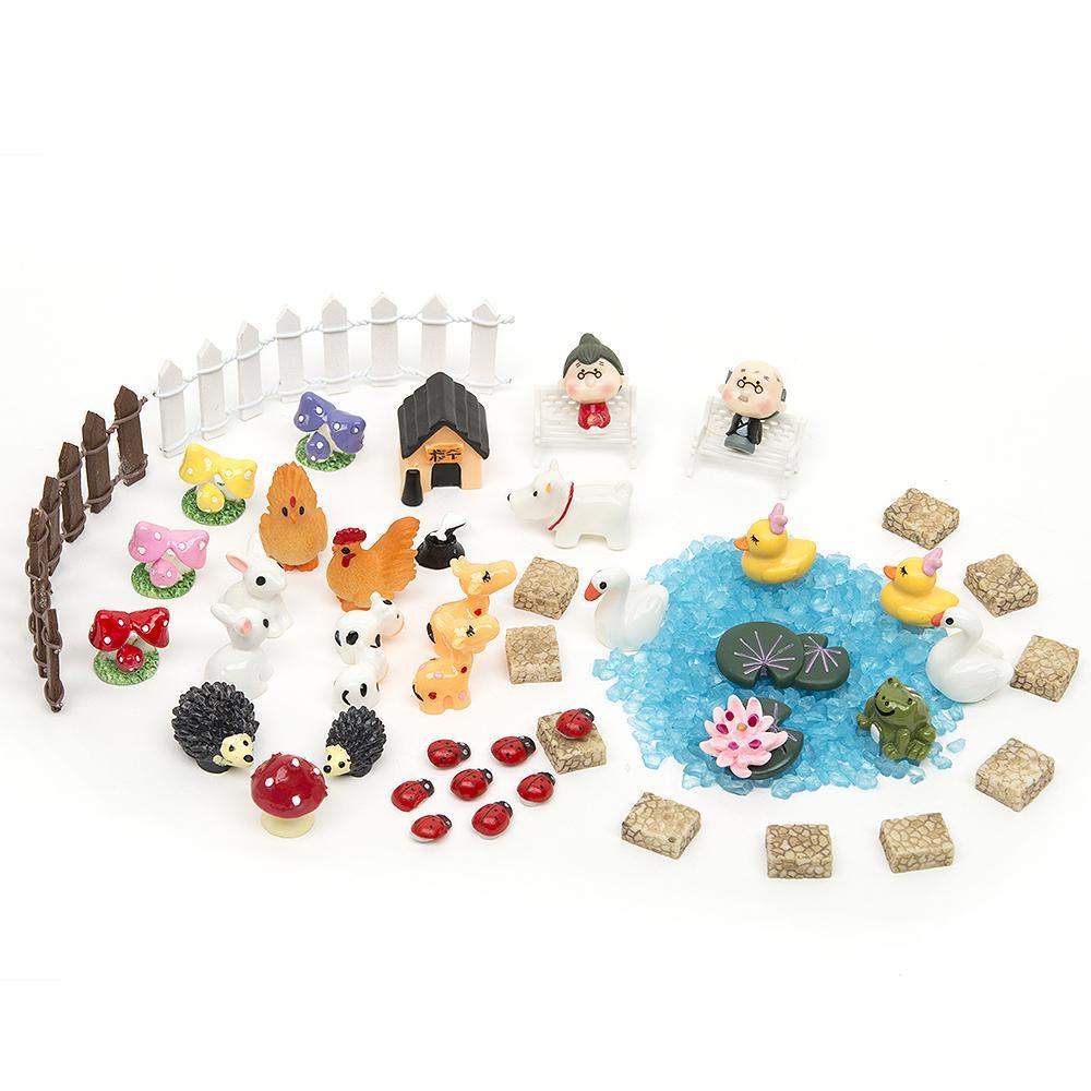 Pastoral 51pcs Diy Miniatures Garden Terrarium Figurines Ornaments Dollhouse Bonsai Micro Landscape Decor For Miniatures Fairy Garden