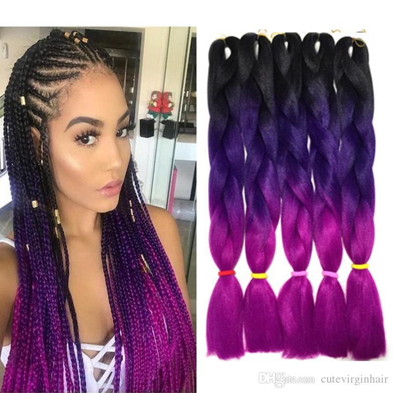 Purple Ombre Braiding Hair Kanekalon Three Tone Braiding Hair Extensions Black Purple Rose Red Ombre Colored Jumbo Braids Hair 24 inch 100g