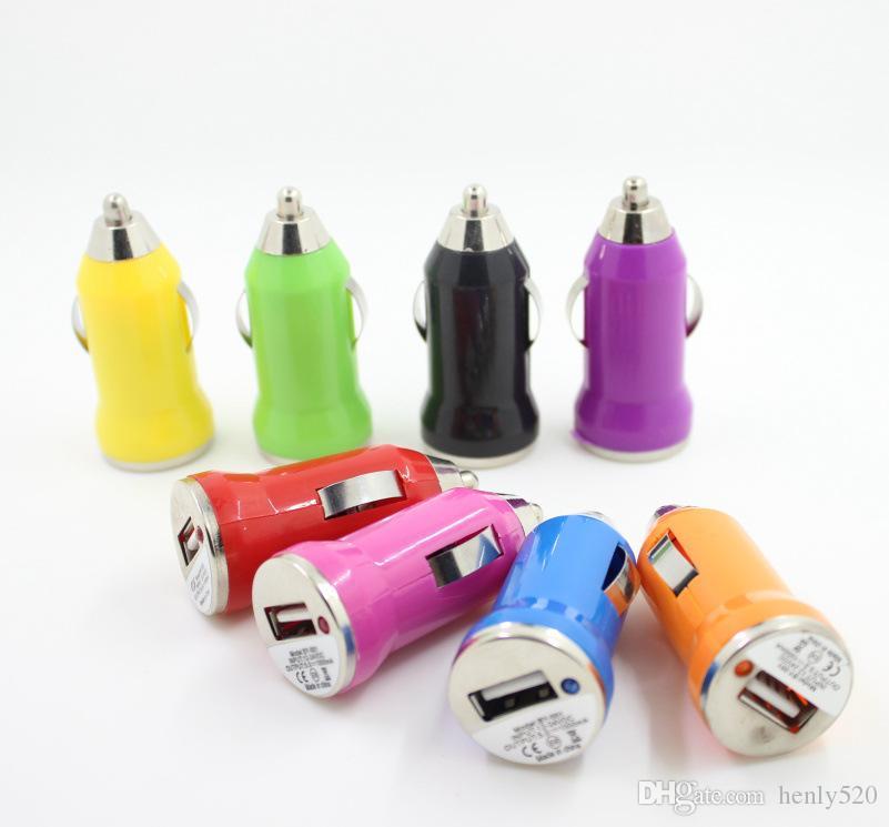شاحن سيارة لآيفون 6 USB ملون Bullet Mini Car Charge شاحن عالمي محمول لشحن الآيفون 7 8