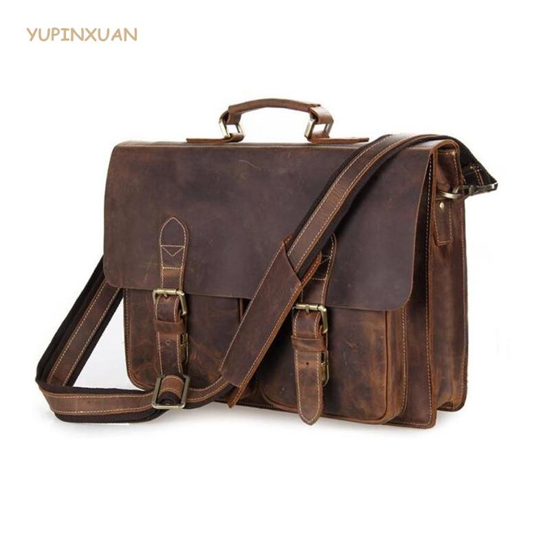 YUPINXUAN Vintage Cow Leather Briefcases for Men Genuine Leather Work Bags Big Real Brief Case Hombre Bloso Chile
