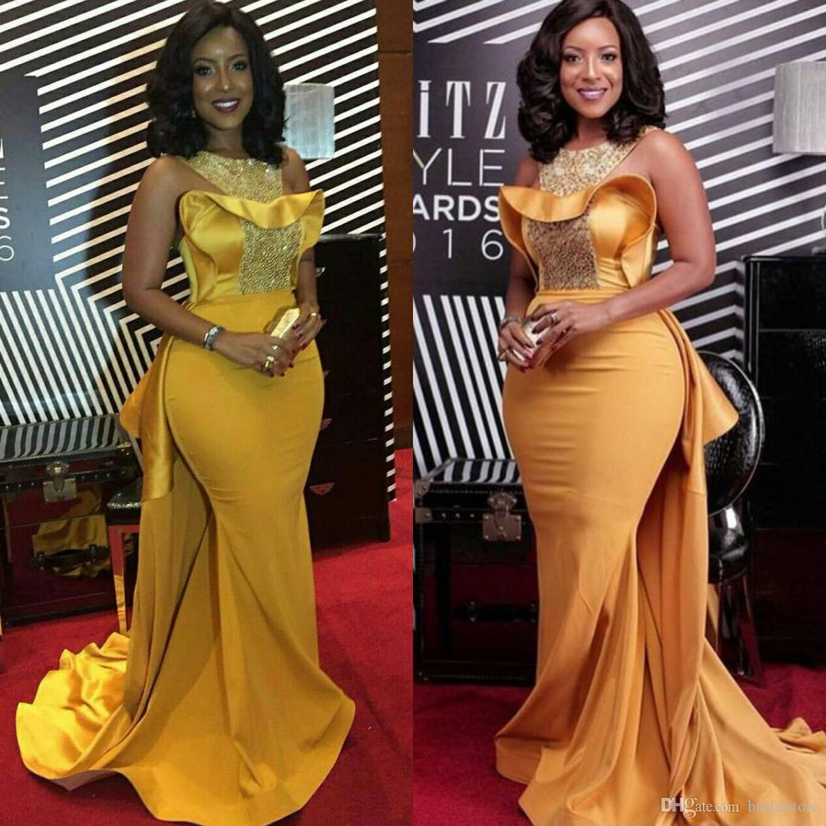 Elegant African Nigerian Mermaid Evening Dresses Fashion Gold Long Formal Plus Size Prom Dresses 2020 With Beaded Satin Train Celebrity Gown