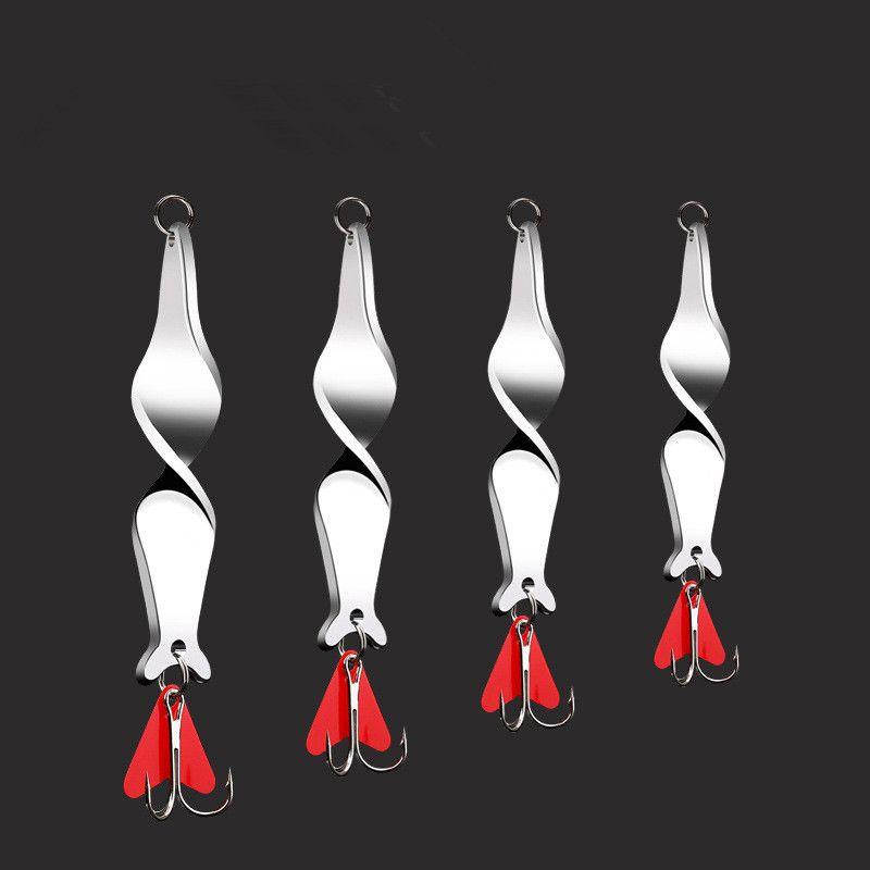 Espiral largo fundido cucharas señuelo de la pesca 10 g 14 g 21 g 28 g Tornillo de rotación Metal Jigbait Red Hear Spinner lentejuelas
