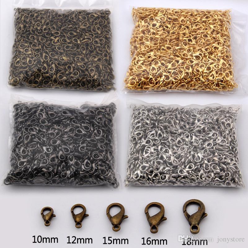 300 قطع 15 ملليمتر والنتائج والمجوهرات البرونزية / الذهب / وردة الذهب / أسود / الروديوم / الفضة المشبك جراد البحر السنانير ل قلادة سلسلة