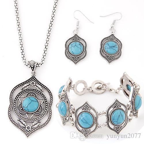 Vintage Retro Fashion Fine Accessories Jewelry Sets Turquoise Geometric Pendant Dangle Earrings Statement Chokers Necklaces Bracelets Women