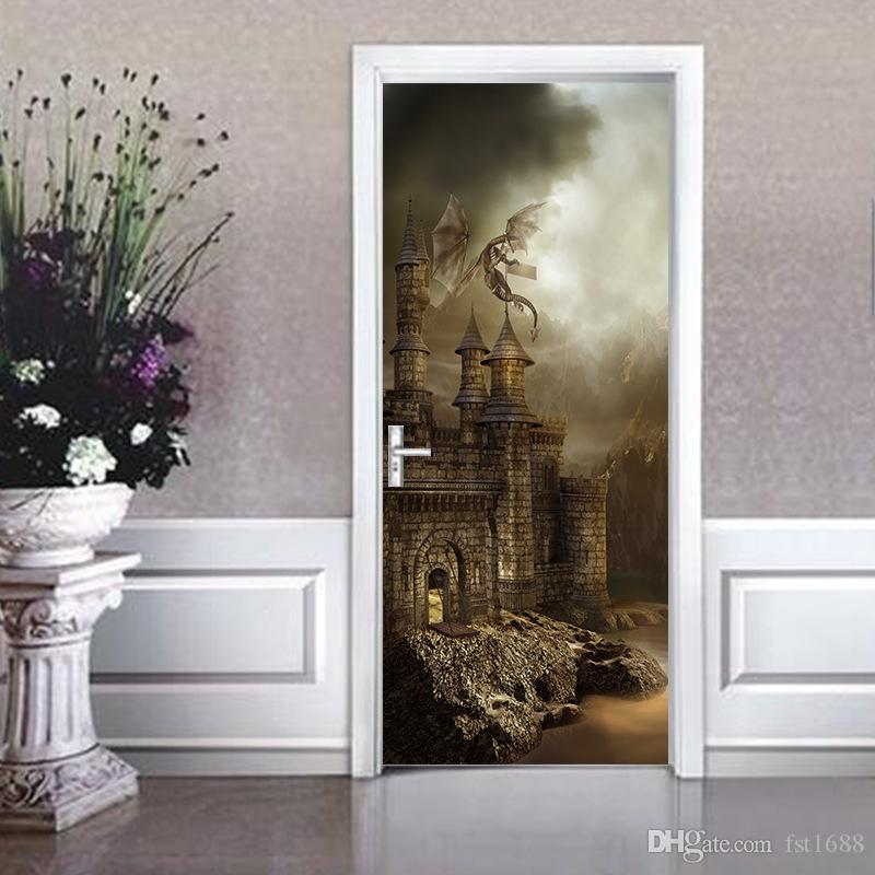 77*200cm Harry Potter Magic Castle Creative Movie Wall Mural Poster 3D Vinyl Door Mural Stickers For Kids Rooms Home Decoration