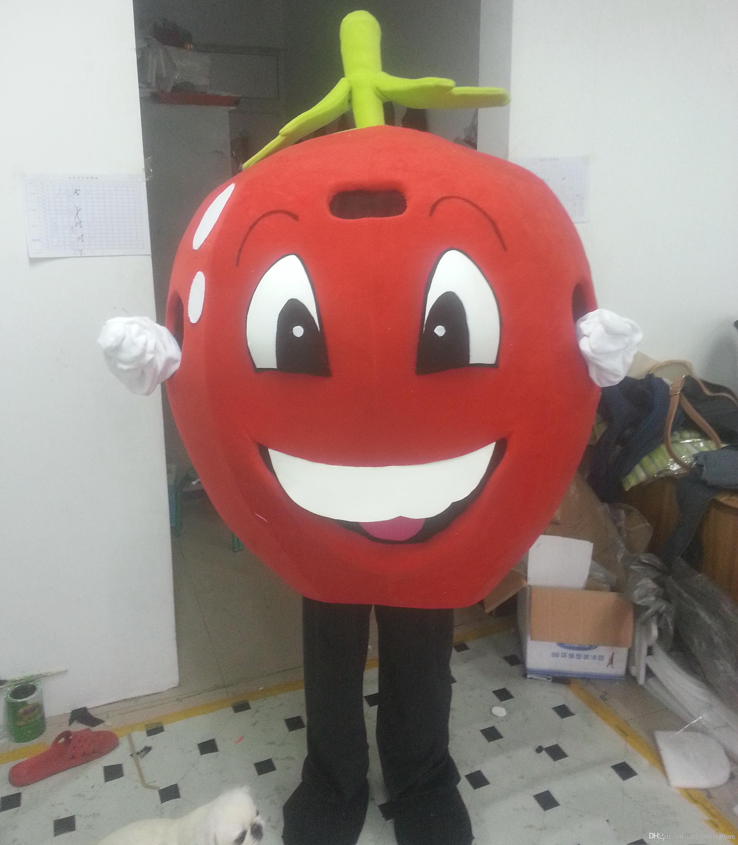 2018 Fabrika doğrudan satış EVA Malzeme Kırmızı elma Maskot Kostüm meyve Karikatür Giyim reklam
