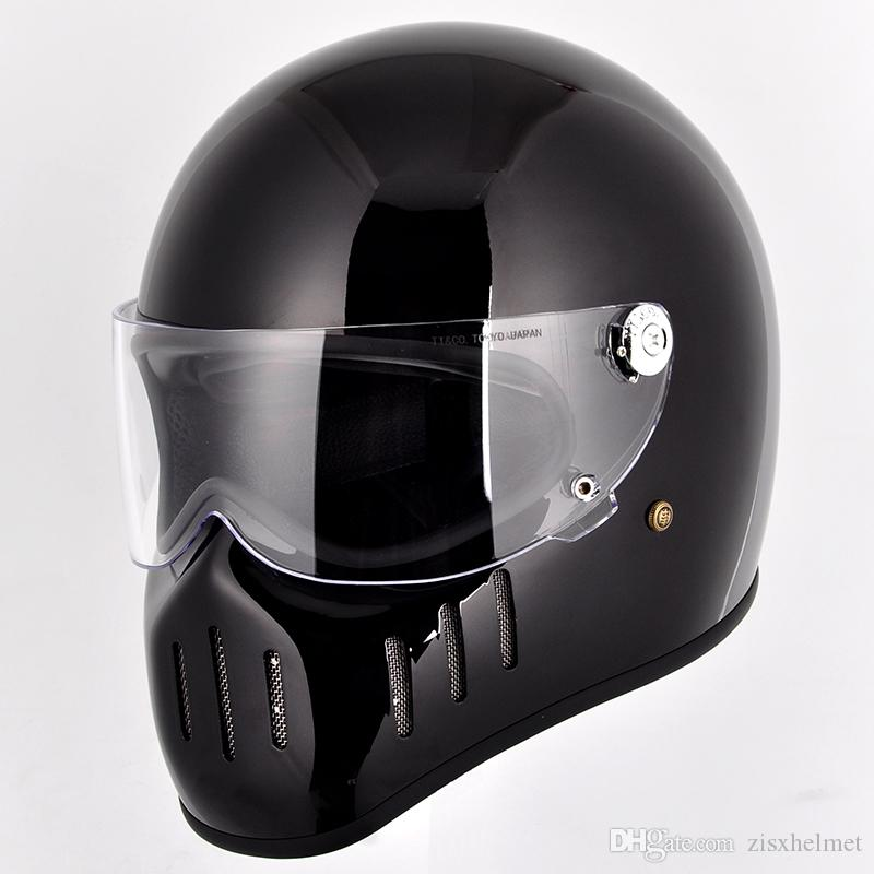 Fiberglass Full Face Motorcycle cross Vintage shield visor helmet street custom cafe racer drop shipping modular dirt bike bicycle helmet