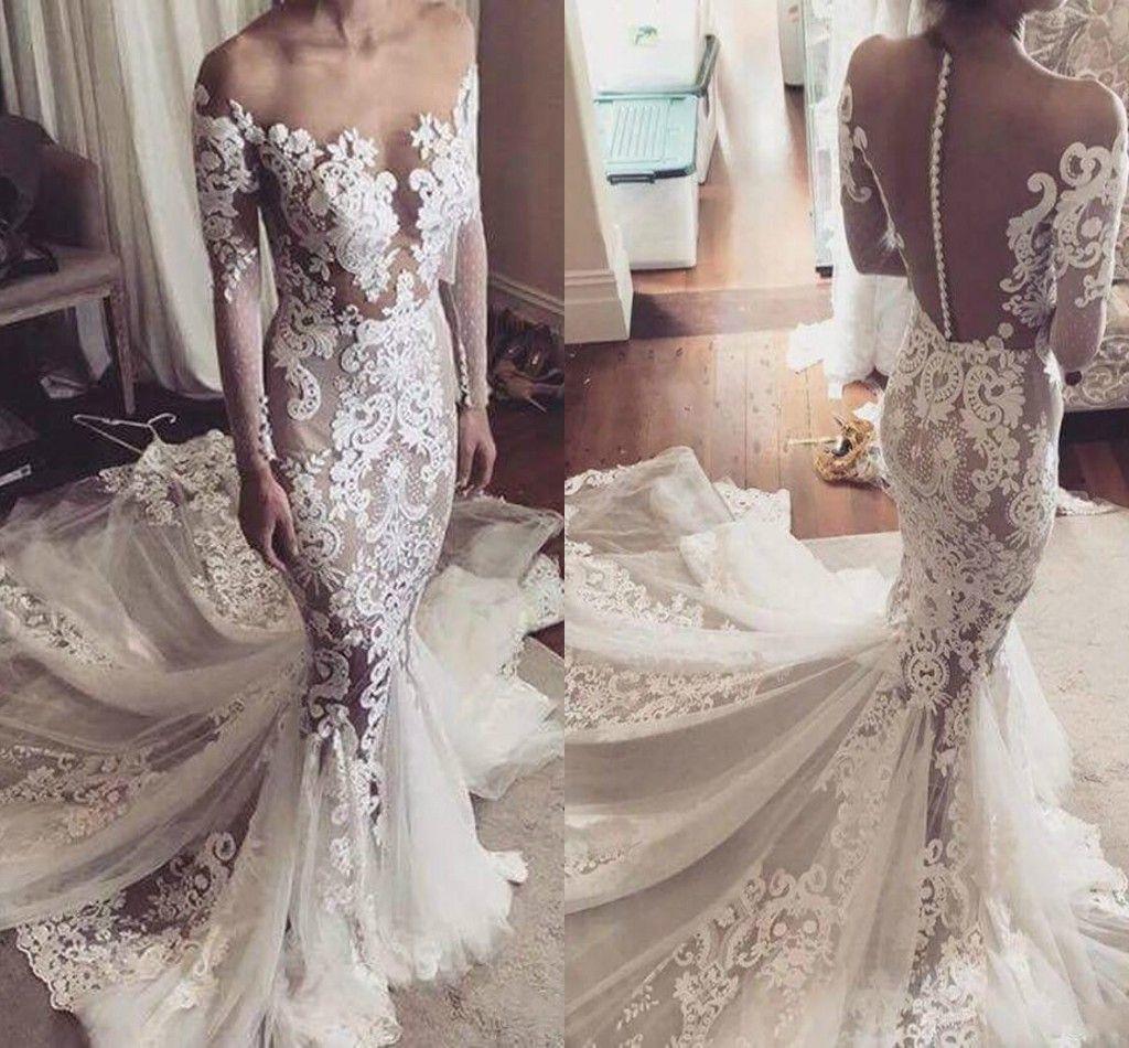 Vestidos de novia de encaje de ilusión sexy Blusa de sirena africana Manga larga Pura Arabia Saudita Tallas grandes Vestido de novia Tren Vestido de novia personalizado