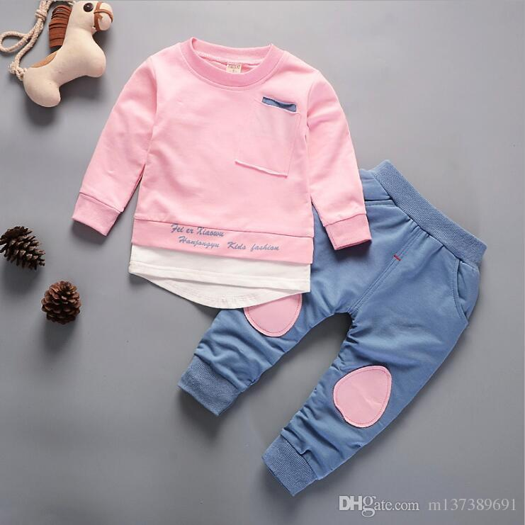 Autumn Children Boys Girls Fashion Clothes Baby Long Sleeve T-shirt Pants 2pcs Suits Kids Clothing Sets Toddler Brand Tracksuits Children ou
