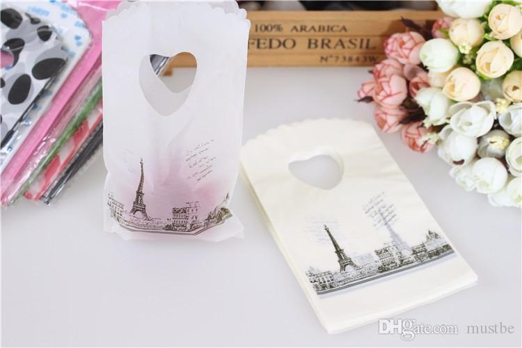 Hot Sale New Style Wholesale 350pcs/lot Eiffel Tower Plastic Gift Bags With Handles Mini Jewelry Gift Bags