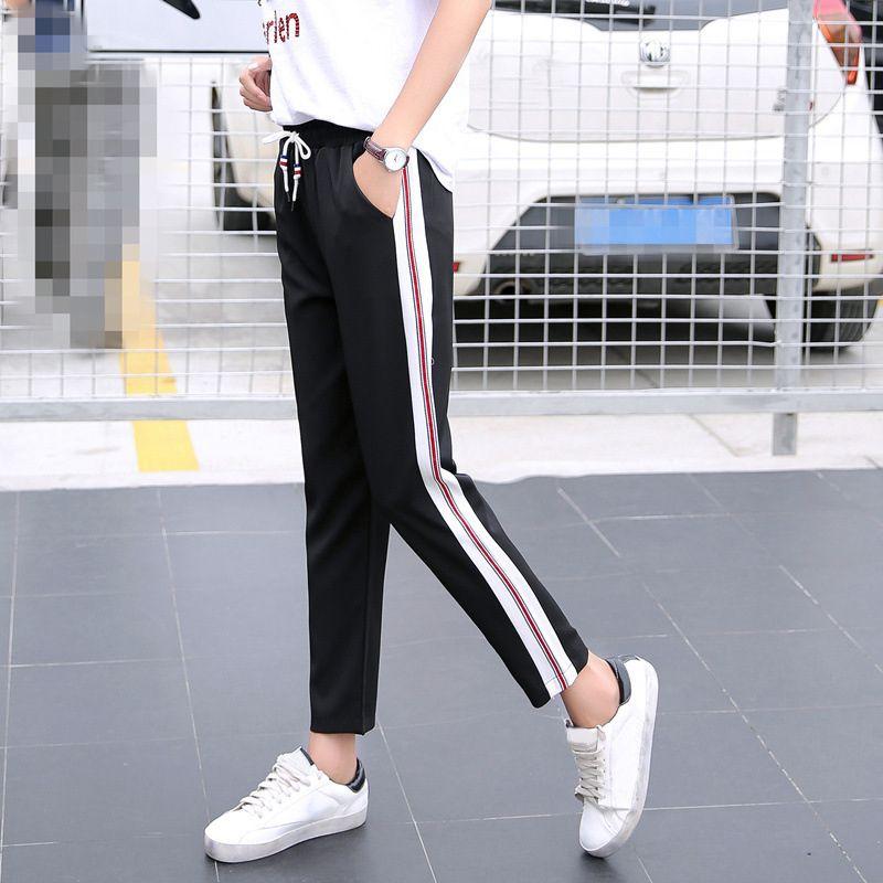 5 estilos Calça Harem Pants Listrado das mulheres calças Calças pretas branco Elástico Solto Magro pantalon mujer S-XXL Femme