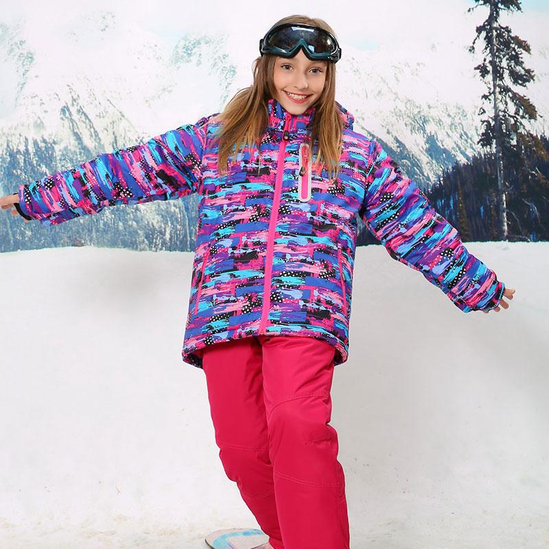 Para-30 Graus Casaco Quente Terno de Esqui Desportivo À Prova D 'Água À Prova de Vento Meninas Casacos Crianças Conjuntos de Roupas Crianças Outerwear Para 3-16 T