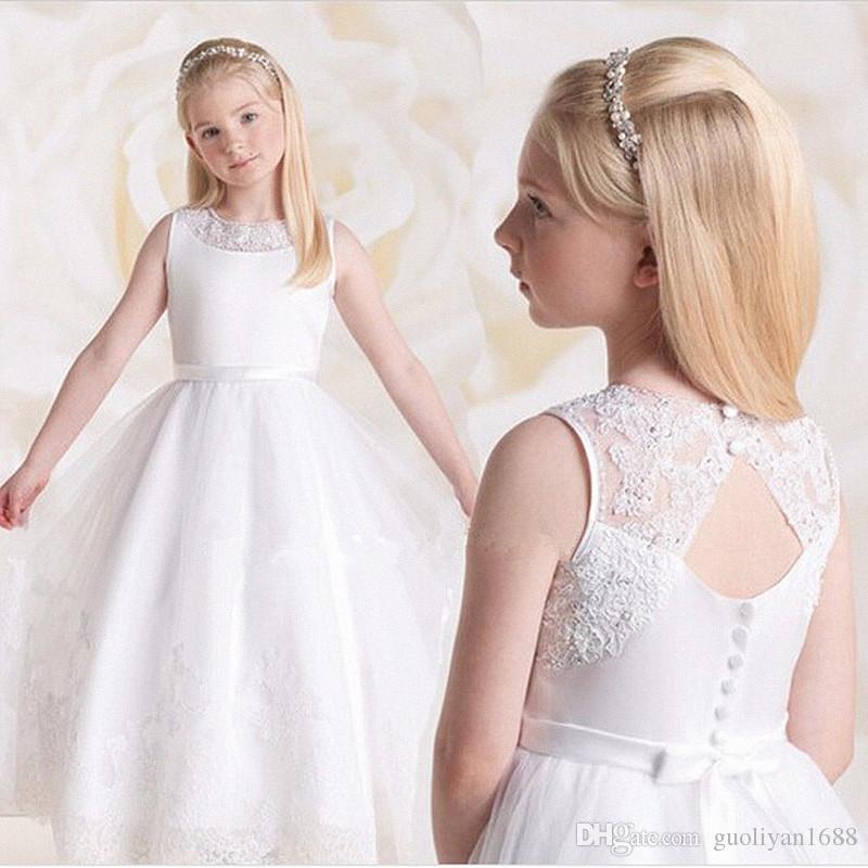Prenses Balo Beyaz Dantel Çiçek Kız Elbise Düğün İçin Ucuz 2019 Tül Kemer Yay Düğüm Özel İlk Communion Elbise kıyafeti