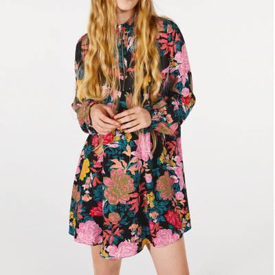 18 srping женщины o-образным вырезом пуловеры молния Spainish полный рукав свободные цветочные платья горячие продажа женской одежды vestidos