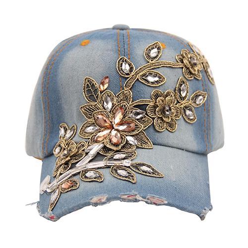 Gorra de béisbol de mezclilla con estampado de flores para mujer Sombrero de  verano con diamantes de imitación con snapback y jeans 26664bcfb35