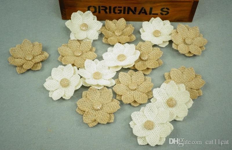 18PC Handmade Jute Hessian Burlap Flower With Lace Button DIY Craft Rustic Wedding Decor Vintage Christmas Wedding Centerpiece