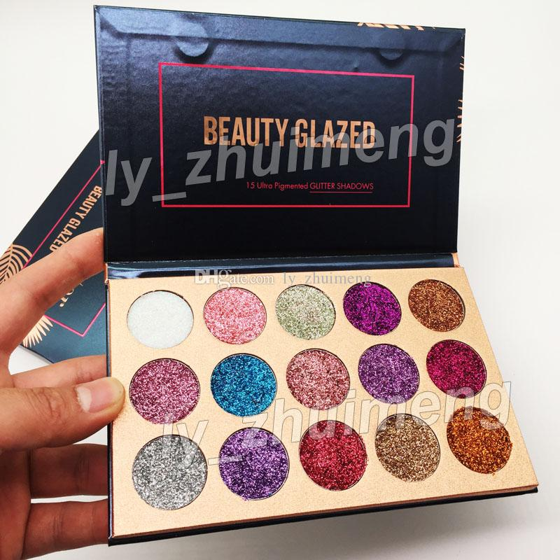 2018 Beauty Glazed Glitter Injections Pressed Glitters Eyeshadow Diamond Rainbow Make Up Cosmetic 15 Colors Eye Shadow Magnet Palette
