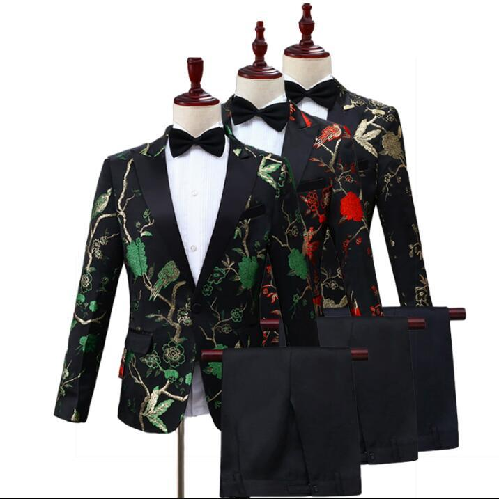 Chorus printing suits for men blazer boys prom mariage suits fashion slim masculino latest coat pant designs Chorus singer stage