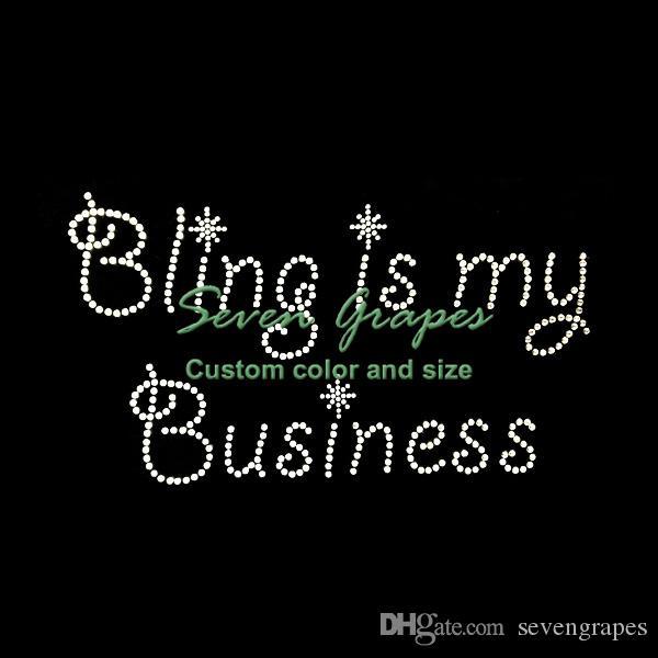 Bling ist mein Geschäftsrhinestone-Motiv Hot Fix Applique für T-Shirt