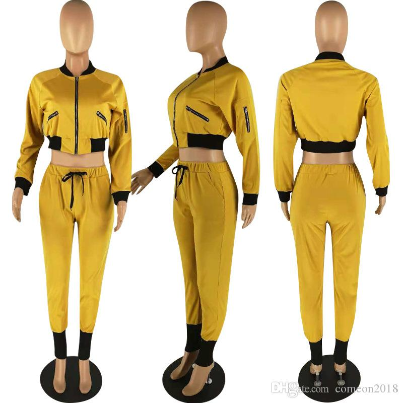 Designer Women Clothes 2 piece pants womens tracksuits zipper jackets drawstring pencil long pants two pieces sets office lady suits outfits