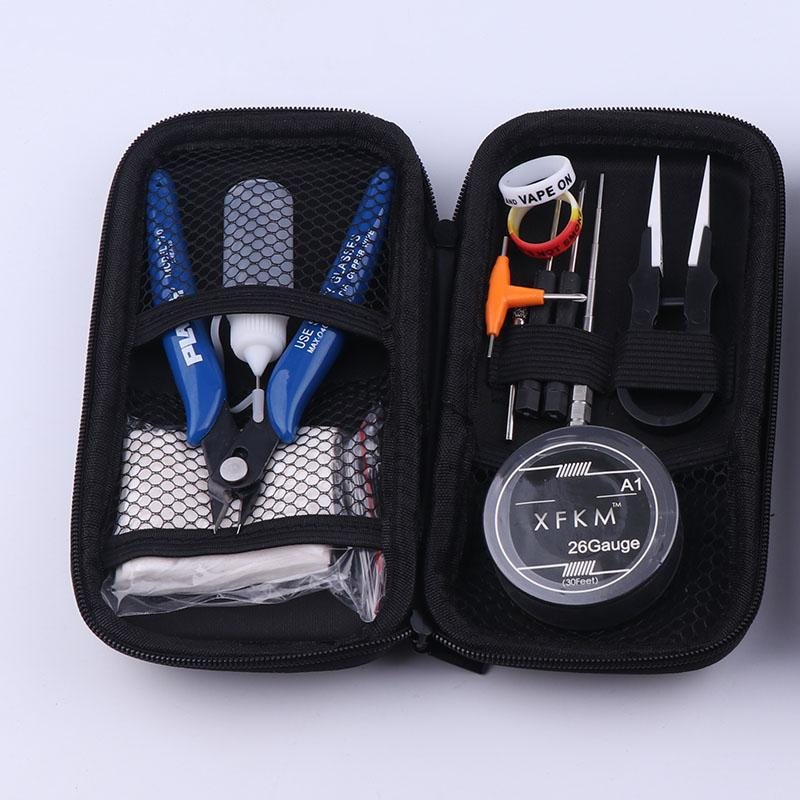 NEW XFKM Mini Vape DIY Tool Bag Tweezers Pliers Wire Heaters Kit Coil Jig Winding For Packing Electronic Cigarette Accessories