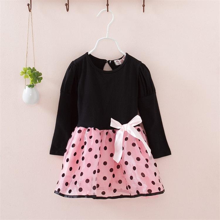 New Fashion Autunno Inverno Girl Dress Polka DotStriped Principessa Abiti da festa Ragazze Bambini Vestiti per bambini Abbigliamento per bambini