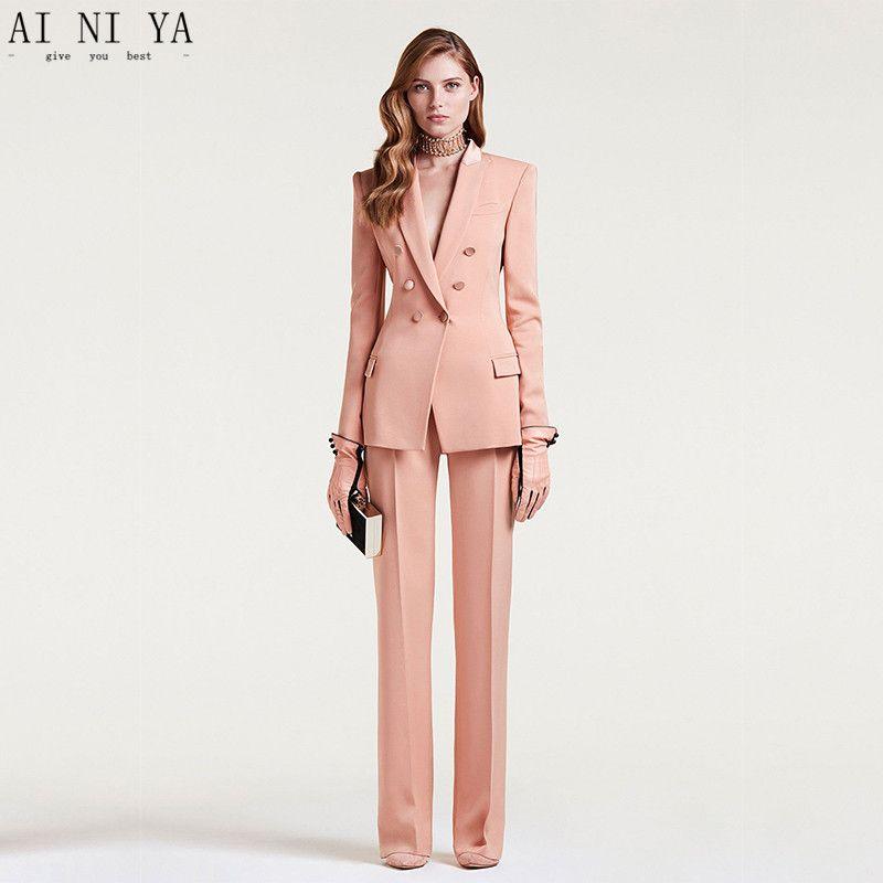 Chaqueta + Pantalones Traje de negocios para mujer Uniforme de oficina para mujeres Traje de pantalón formal Traje de novio de doble botonadura para mujeres