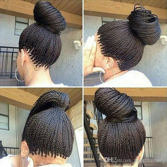 Micro intrecciato merletto anteriore parrucche sintetiche parrucca anteriore del merletto vendita calda parrucca Black Women afroamericano intrecciato Avana Twist pizzo parrucca libera di trasporto