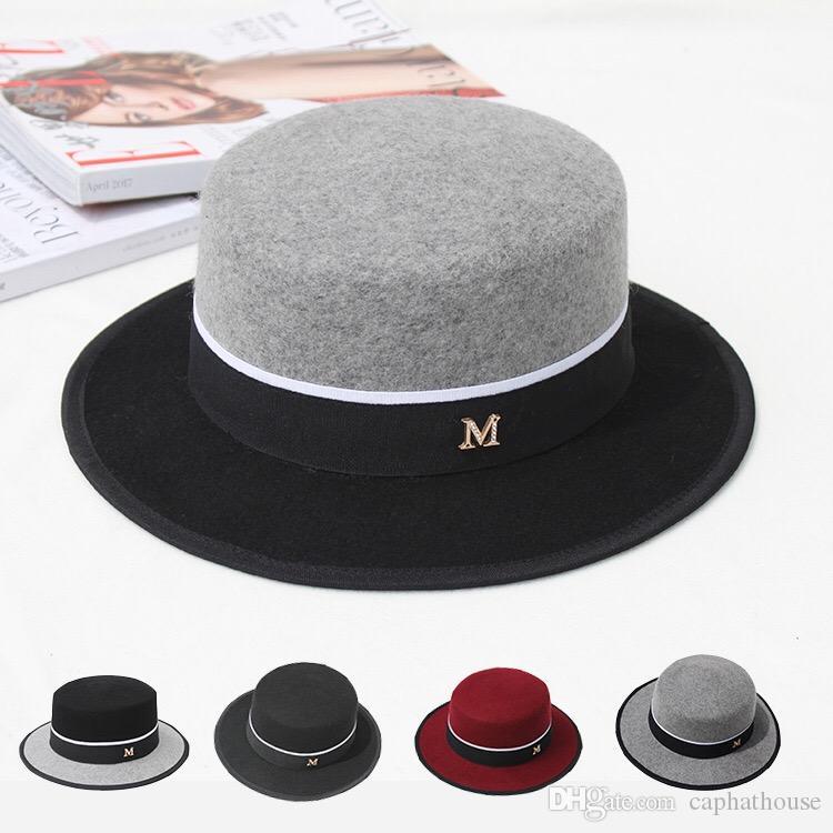 новый дизайн моды женщины зима шерсть топ шляпы бренд широких полей шляпы панама M контраст этикетки цвет бесплатная доставка