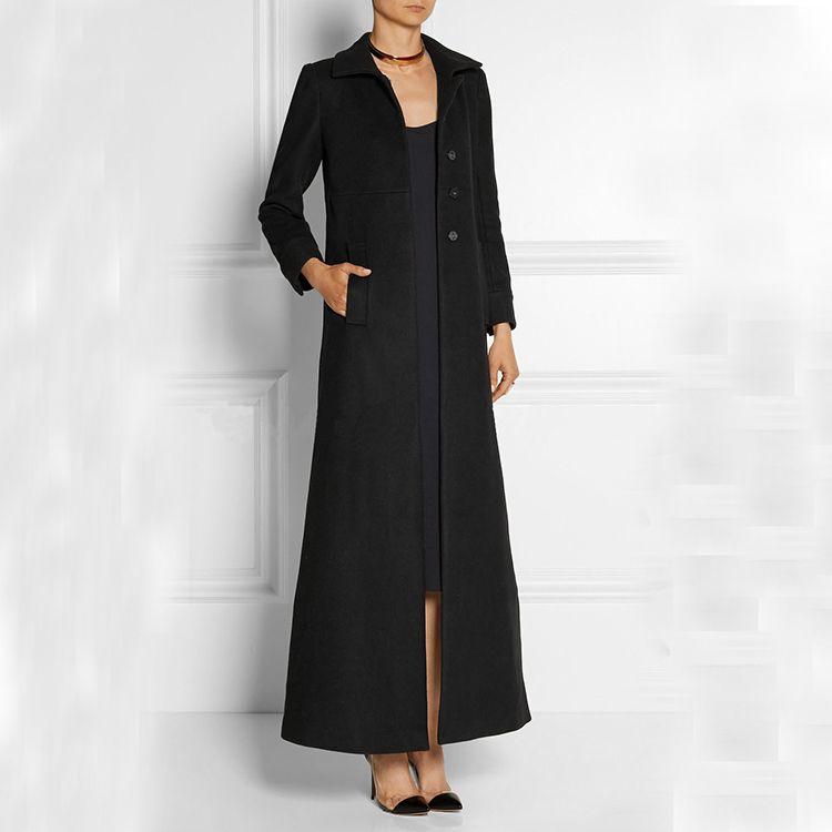 Fashion Slim Single Breasted Women Ultra Long Woolen Jacket, Black Ladies Extra Long Wool Coat