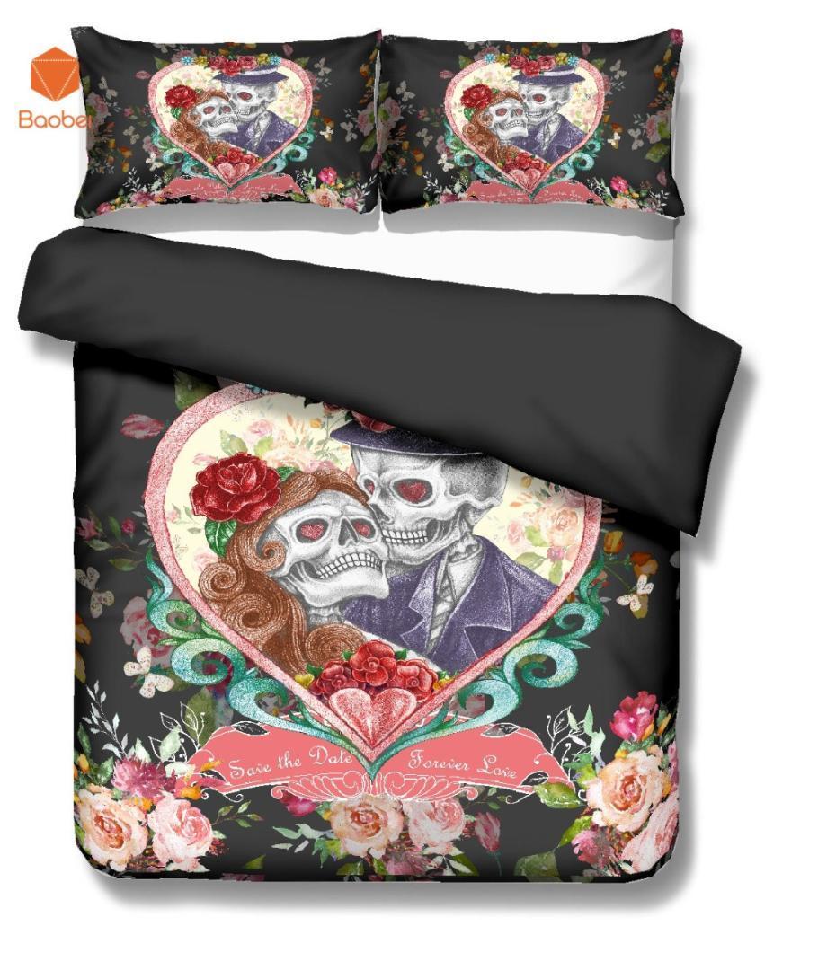3Pcs Sugar Flowers Heart Skull Black Bedding Set Pillowcases Duvet Cover Quilt Cover For Kids Queen King Sizes Bedspreads Sj234