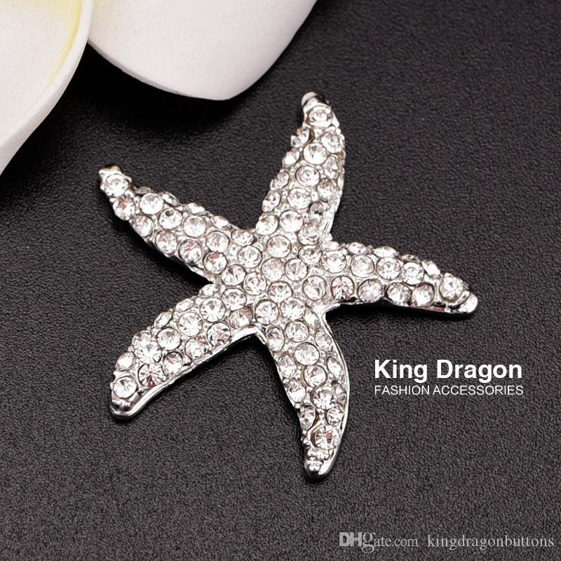 Botão de enfeite estrela do mar de strass usado no convite de casamento ou decoração 32 MM 20 pçs / lote cor de prata apartamento de volta KD135