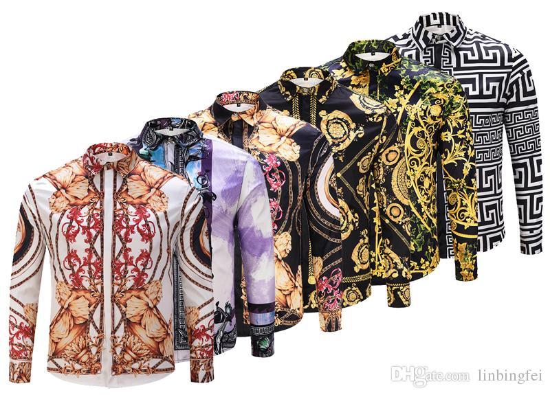2018 Новый Medusa печатных роскошные мужчины Dress рубашка Slim Fit хлопок рубашки для мужчин черный печати повседневная бизнес топы социальная одежда