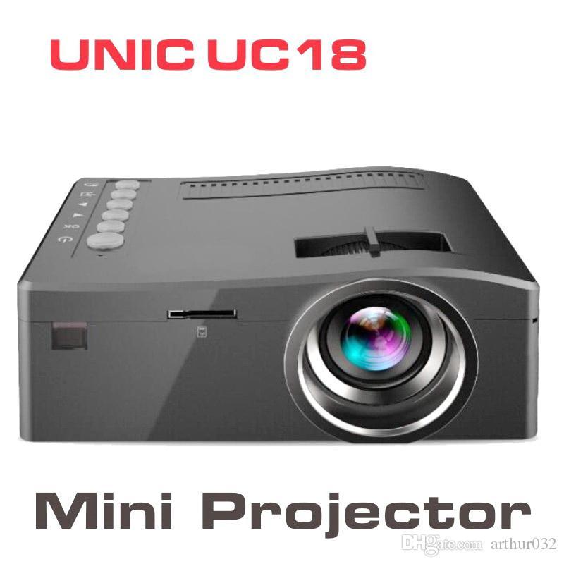 원래 유니콘 UC18 미니 LED 프로젝터 휴대용 포켓 프로젝터 멀티미디어 플레이어 홈 시어터 게임 지원 HDMI 1080P LCD USB TF 비머