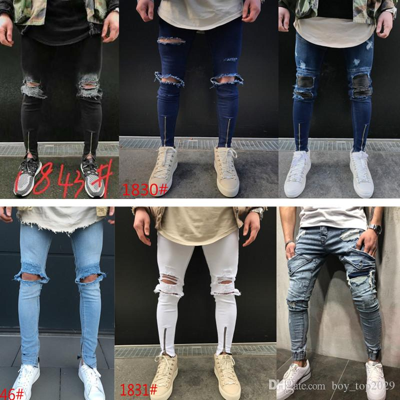 2019 Hot! Men's Jeans New broken Elastic Zipper Men's Feet Pants Europe and The United States Trend Free Shipping Size S-3XL