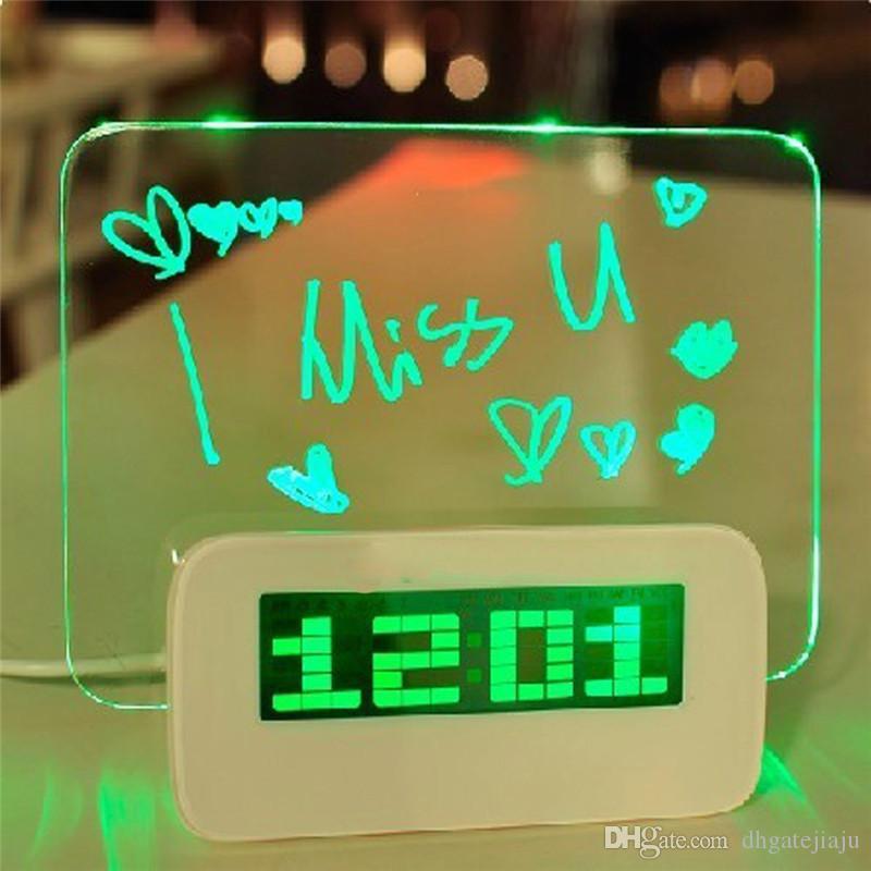 Blue LED Luminous Message Board High Quality Digital Alarm Clock with 4 Port USB Hub Temperature Calendar Computer HIGHSTAR