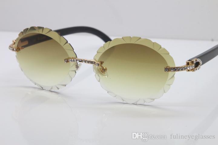 Новые Алмазные Очки T8200761 Горячие Солнцезащитные очки Овальные Овальные объектива Черный Буффало Рог RIMLED Вырезанные объектив Толщина 3,0 Винтажные Солнцезащитные Очки Браун Унисекс