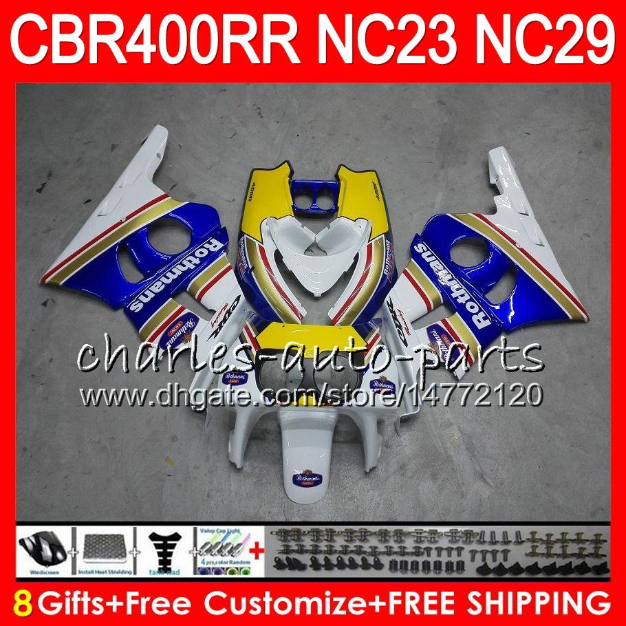 Zestaw dla Honda CBR400 RR NC23 CBR400RR 88 89 90 91 92 93 80HM.0 CBR 400 RR NC29 CBR 400RR 1988 1989 1990 1991 1992 1993 Owalnia Rothmans Blue