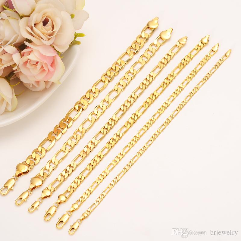 21 см 4 мм мужская 24 к goldplated браслет Фигаро цепи браслет ожерелье мальчик JewelryAccessories Дружбы ссылка цепи подарок