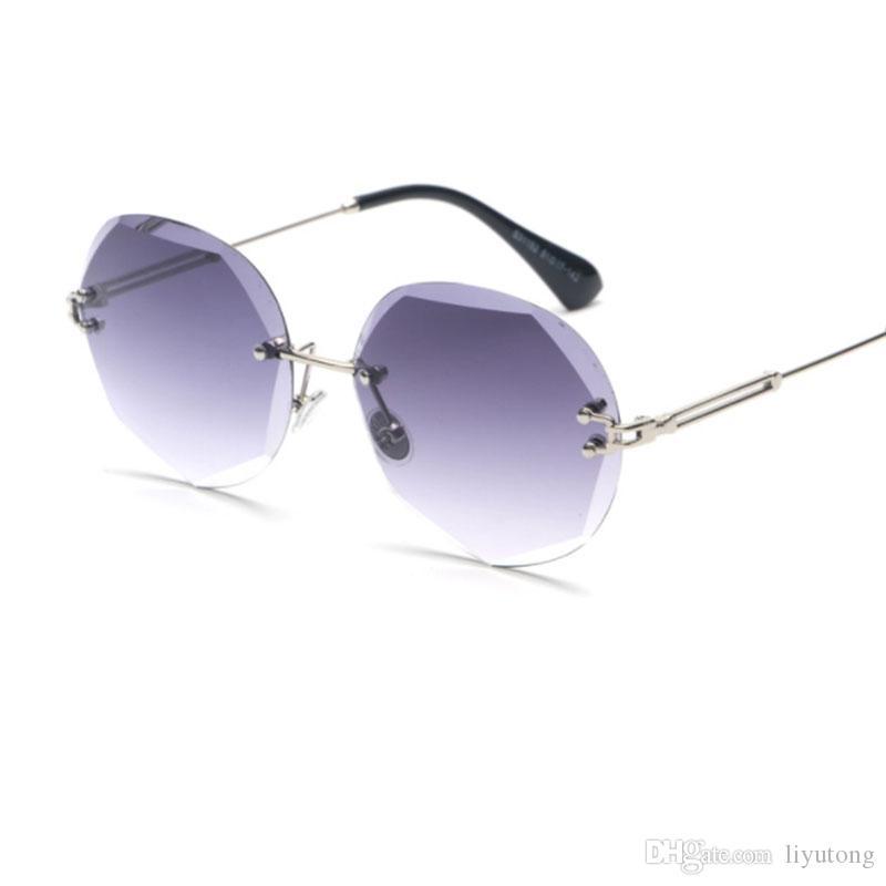 2018 Occhiali da vista in metallo Round Sunglasses Shades Summer Oversized UV400 Retro Clear Gradient Designer Rimless Women Frame Brand Sunglasses Jnbb