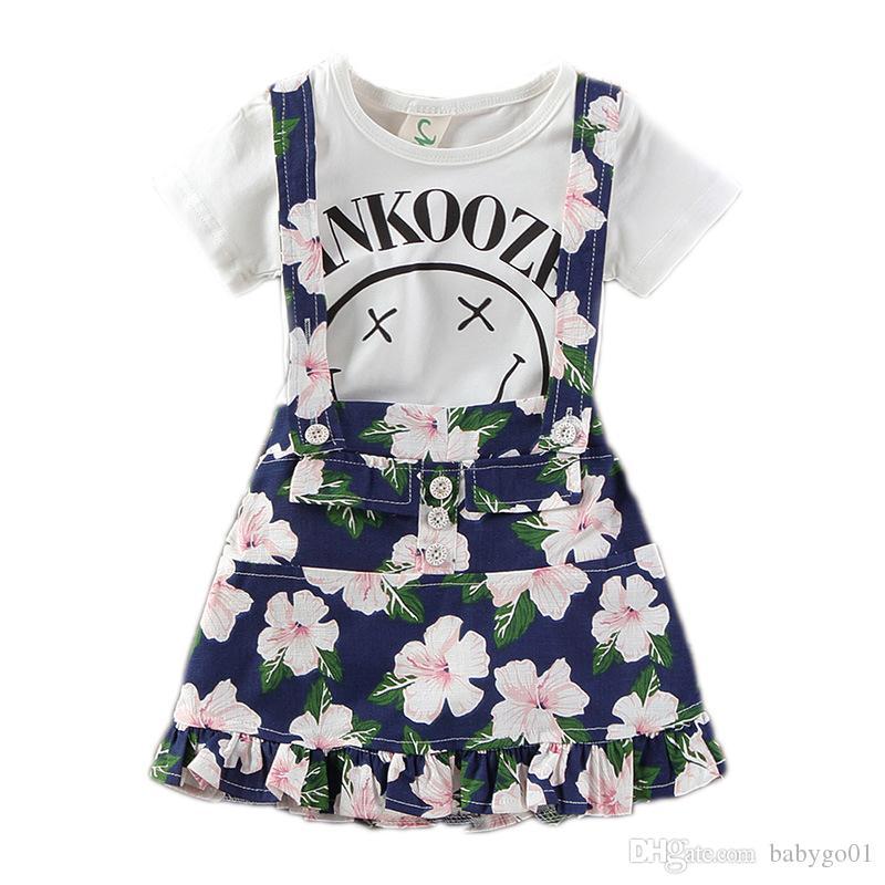 أطفال ملابس الفتيات اللباس 2018 الفتيات الملابس مجموعات 2PCS طفل الفتيات فساتين الأطفال ملابس الصيف فستان زهري