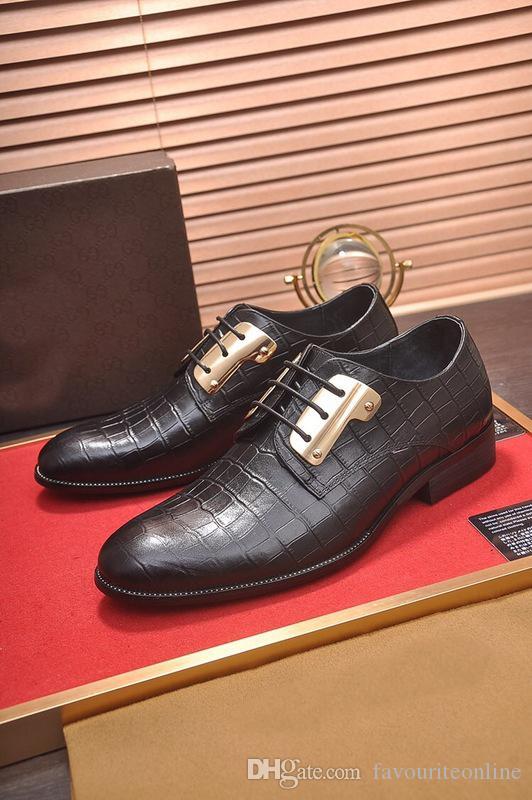 [Caja original] Nuevo para hombre con cordones Oxfords Drive Vestido de raya del banquete de boda de cuero genuino zapatos de ocio tamaño 38-45