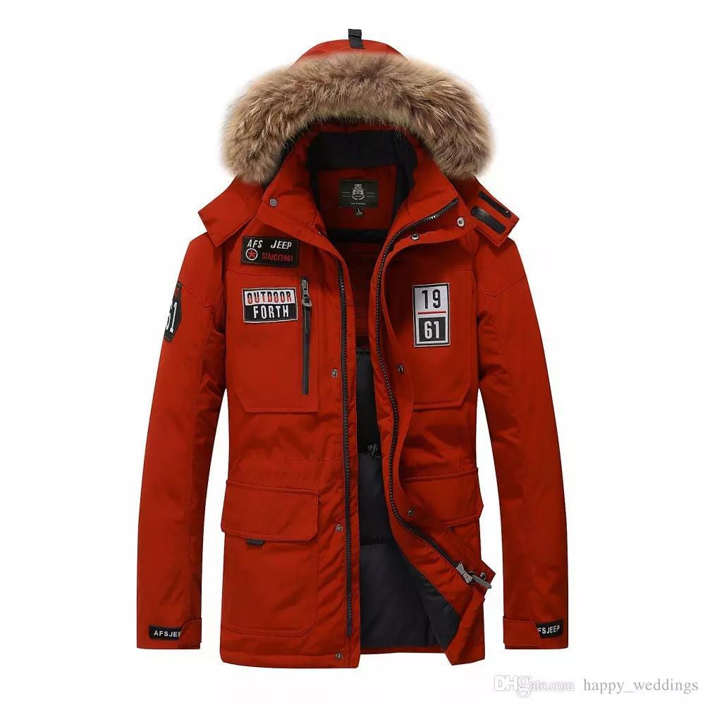 Marca piuma d'oca colletto della giacca uomini pelliccia uomini giacca invernale caldo di spessore mens piume d'anatra bianca cappotto Jaqueta Masculina